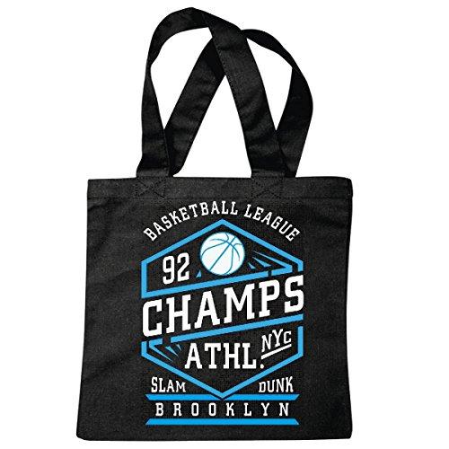 Tasche Umhängetasche New York District Harlem Basketball Madison Square Garden Amerika USA Basketball Club Basketballspieler BASKETBALLMANNSCHAFT Einkaufstasche Schulbeutel Turnbeutel in Schwarz