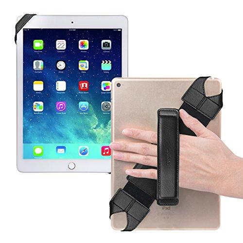 Joylink Universal Tablet Hand Holder Strap, 360 Degrees Swivel LeathJer Handle Grip with Elastic Belt, Secure & Portable for 10.1' Tablets (Samsung Asus Acer iPad etc), Black