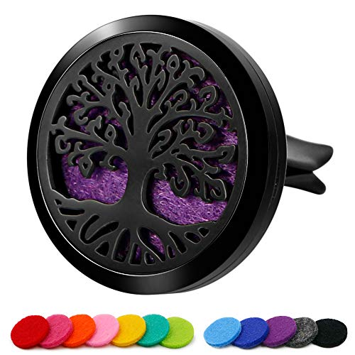 RoyAroma 30mm Car Aromatherapy Essential Oil Diffuser Stainless Steel Locket with Vent Clip 12 Felt Pads-Tree of Life Black