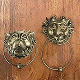 Labyrinth Door Knockers, Antique Bronze Lion Door Handle Classical Lion Head Knocker, Front Door Handle, Brass Gate Knocker Door Accessories, Vintage Lion Mouth Accessories Gate (Set of Knockers)