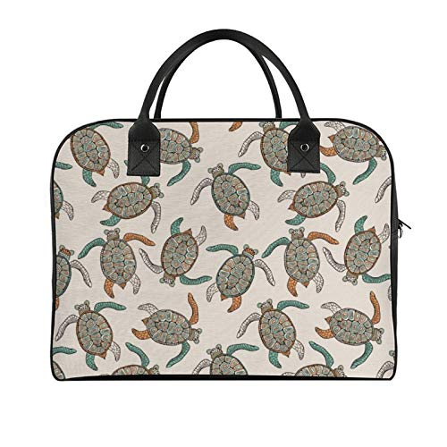 Yeuss Outdoor Travel Bag Ethnic Illustration Of Traditional Turtle With Geometric Motifs Men'S And Women'S Travel Handbag, Shoulder Bags