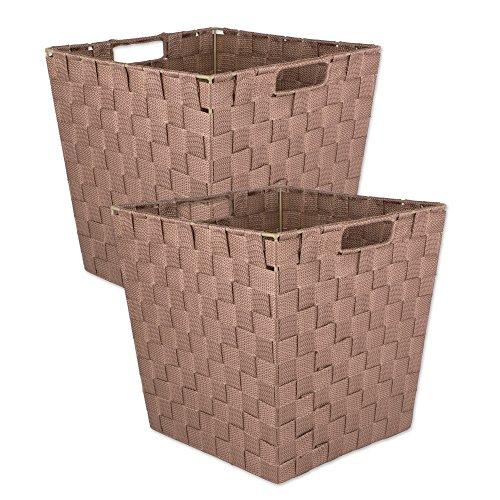 DII Durable Trapezio Woven Nylon Storage Basket per organizzare la tua casa, ufficio o closets (Medium Bin – 11 x 11 x 11 pollici), grigio talpa – Set di 2