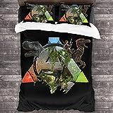 cuicui ARK: Survival Evolved Juego de ropa de cama de alta calidad, regalos para niños (regalos para niños y niñas) (D01,220 x 240 cm + 50 x 75 cm x 2)