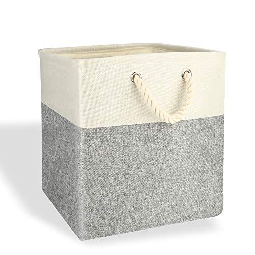 Beinhome Tvättkorg vikbar tvättlåda, linnetyg 30 x 30 x 30 cm tvättkorg förvaringsbehållare med handtag, för kläder leksak organisation, grå och vit