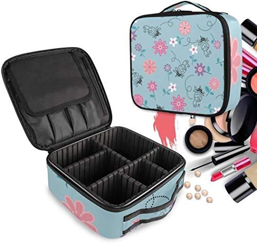 Cosmétique HZYDD Daisy Fleur Rose Abeille Make Up Sac Trousse de Toilette Zipper Sacs de Maquillage Organisateur Poche for Compartiment Femmes Filles Gratuit