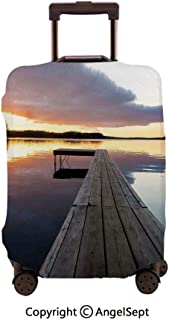 Travel Luggage Cover Dustproof Suitcase, of Sunset over an Old Oak Deck Pier and Calm Water of the Lake Horizon Serenity Multi,23.6x31.9inches,Cover Suitcase Protector Carry-On