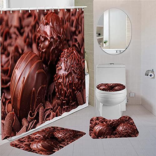MQWEMJ Duschvorhang Set, Braune Schokolade Badezimmer Matte rutschfeste, Polyester Durable Wasserdicht Duschvorhang mit 12 Haken Home Badezimmer Dekor 180×180 cm