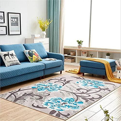 alfombras Dormitorio,Gris Azul patrón Floral Simple Lavado de Agua Polvo Alfombra ,alfombras de Salon Modernas -Azul_80x200cm