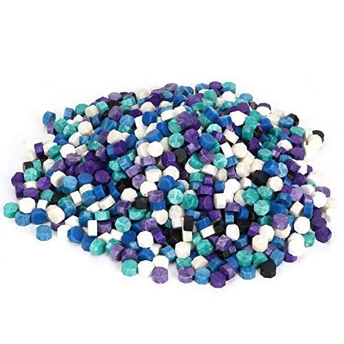 KUIDAMOS Siegelwachsperlen, Vintage-Siegelwachs in gemischten Farben, Achteckperlen, wiederverwendbar, einfach zu bedienen, für Hochzeitseinladungsumschlag-Siegel