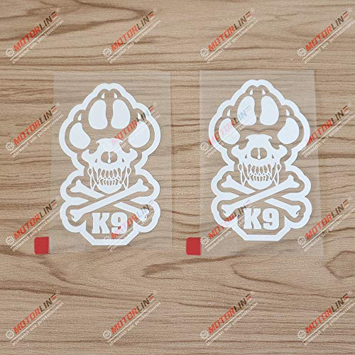 2X White 4'' K-9 Unit Decal Sticker K9 Police Dog Paw Bone Car Vinyl die Cut no Background