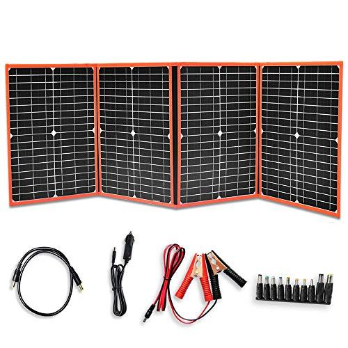 YUANFENGPOWER 80W Faltbares Solarpanel 4 x 20 watt Tragbares Solarladegerät mit zwei 5-V-USB-Reglerausgängen für Auto, Boot, Camping, Reisen, Wandern, Heim, 12-V-Batterieladung im Freien (80)