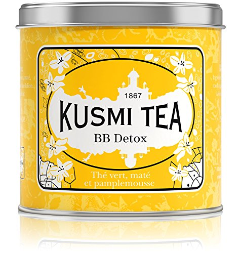 Kusmi Tea - BB Detox - Natural Green Tea with Yerba Mate, Rooibos, Guarana, Dandelion Infusion with a Hint of Grapefruit - 8.8oz of All Natural Premium Loose Leaf Green Tea in Meta Tin (100 Servings)