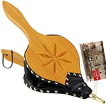 TJ.MOREE Fireplace Bellows Indoor 19 x 8  Large Wood Fire Blower with Hanging Strap Long Handle Metal Nozzle Great Tool for Fireplace Fire Pit Wood Stove BBQ Outdoor Camping - Carving