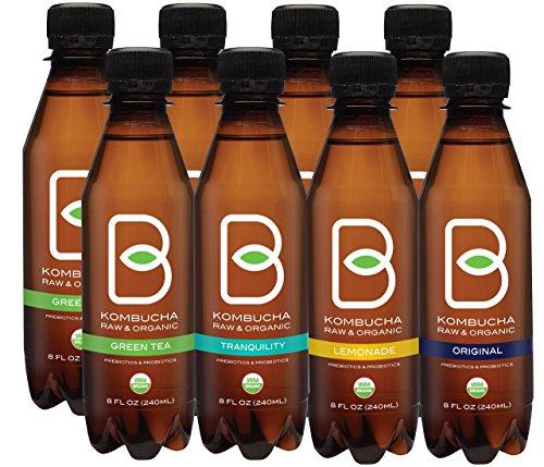 B-tea Kombucha Raw Organic Tea, Only 2g of Sugar, Probiotics and Prebiotic, Promotes Healthy Weight Loss, Kosher, 8 oz., 8 Count