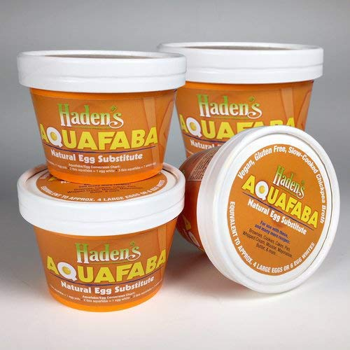 Haden's AQUAFABA, perfect egg substitute for VEGAN and egg-allergy baking. (4) 7 ounce containers per order. Equivalent to 16 -20 large eggs. Ready to use. Freeze, thaw, refreeze, use as needed.