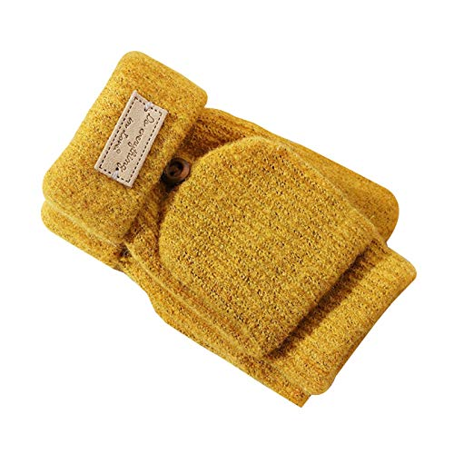 Handschuhe & Fäustlinge Halbfingerhandschuhe, Damen-Winter-warme gestrickte Handschuhe Werfen Handschuhe Flip Top Cabrio Handschuhe (Color : Yellow)