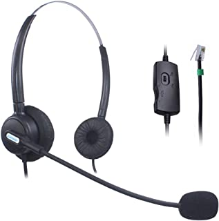Comdio CH203VA6 Corded Call Center Phone Headset Headphones Ear Phone + Volume Mute Control for Polycom SoundPoint IP Phone Series 300 301 430 500 501 550 600 601 650 Lazerbuilt Orchid Packet8 Ip Telephone