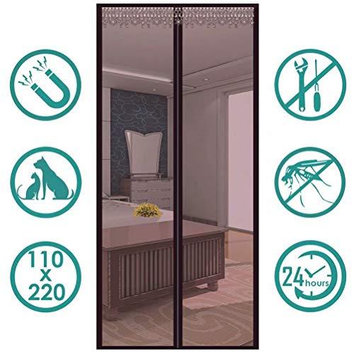 YKXIAOYU Magnetischer Fliegengittervorhang mit Klettverschluss und Magneten, strapazierfähig, atmungsaktiv, für Tür und Fenster, 90 * 215cm, braun, 2