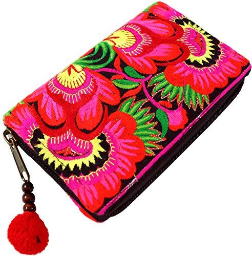 Guru-Shop Ethno Portemonnaie Chiang Mai - Pink/schwarz, Herren/Damen, Braun, Baumwolle, Size:One Size, 10x15x3 cm, Portemonnaies aus Stoff