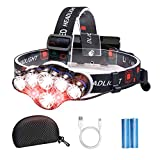 Brightest Headlamp Flashlight, 8 LED USB Rechargeable Headlamp 18000 Lumen Waterproof Flashlight, Smart Infrared Sensor Switch, Adjustable Headband, 8 Modes Change Headlight for Camping, Hiking