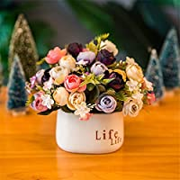 屋内人工花 人工花柄の装飾リビングルーム装飾ダイニングテーブルプラスチックブーケ花瓶フラワーポットリアルタッチ 家の装飾 (色 : F, Size : One size)