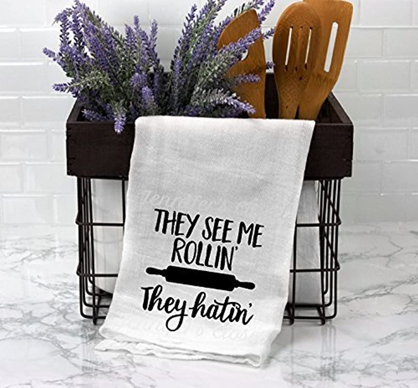 They See Me Rollin They Hatin Funny Kitchen Towels Flour Sack Towels Large White Lint Free Cotton Towels With Sayings
