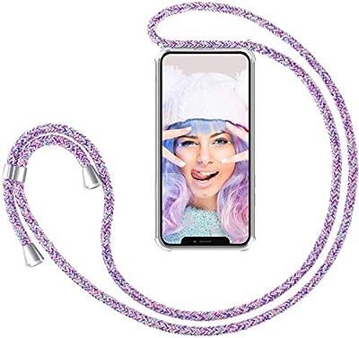 SIMao Funda con Cuerda para iPhone 12 Pro MAX Funda con Cadena para Teléfono Móvil con Correa Ajustable Transparente TPU Silicona Carcasa con Collar de Cordón Funda con Cordón de Colgar,Unicornio