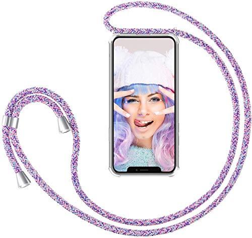 Funda con Cuerda para Xiaomi Mi Note 10 Lite Funda con Cadena para Teléfono Móvil con Correa ajustable Transparente TPU Silicona Carcasa con Collar de Cordón Funda con Cordón de Colgar,Unicornio