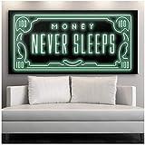 Money Never Sleep HD Impresión en lienzo Letra nórdica Money Art decoración del hogar arte de la...
