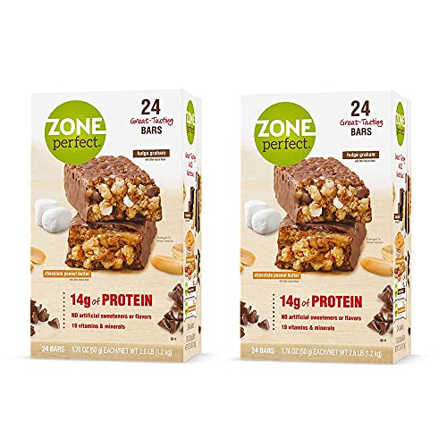 Zone Perfect Nutrition Bar Two Flavor Pack   Two Boxes of 24 Bars, 48 Bars Total (24 Fudge Graham, 24 Chocolate Peanut Butter)   14 g of Protein per Bar - 18 Vitamins & Minerals