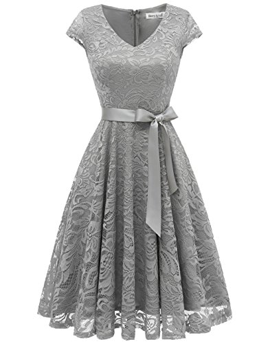 BeryLove Damen V-Ausschnitt Kurz Brautjungfer Kleid Cocktail Party Floral Kleid BLP7006GreyXS