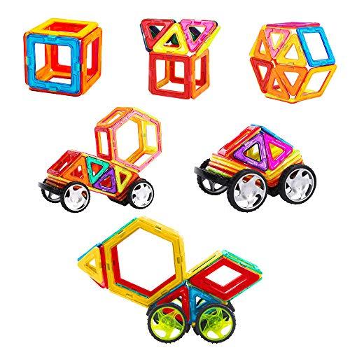 TGRBOP 105Pcs Magnetische Bausteine Magnetblock Set 3D Magnetische Bauspiele Geschenk Für Jungen Mädchen Kreativität Pädagogische Stapel-Kits Für Kinderspielzeug