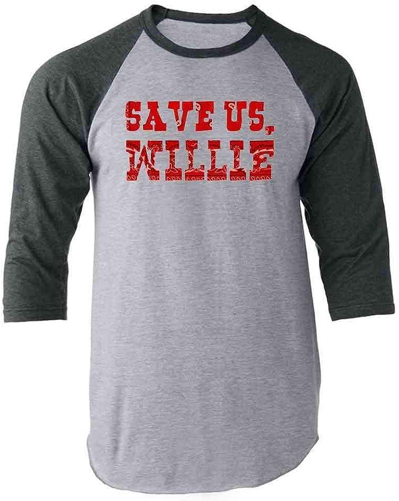 Save Us Willie Funny Country Music Political Gray 3XL Raglan Baseball Tee Shirt