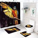 LAOSHIZI Adler Papagei Drucken rutschfest Sanft Badteppich Kreativität 4er-Pack Badteppiche Set U-Form konturiert WC-Matte Teppiche Deckelabdeckung Wasserdicht Duschvorhang Adler
