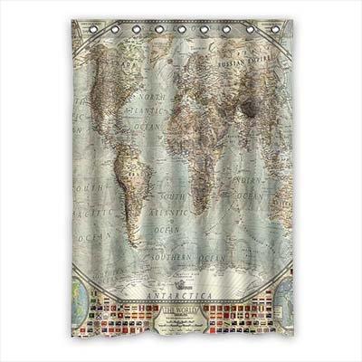 """dalliy Custom de mapa del mundo cortina de ventana poliéster 52""""X 182,88cm aproximadamente 132cm x 183cm (One Piece), poliuretano, A, 52"""" x 72"""""""