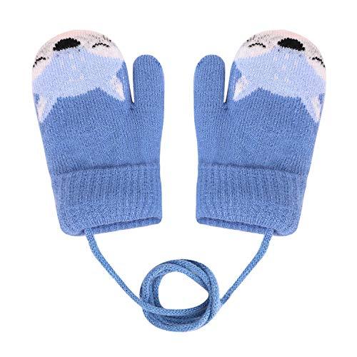 YSXY Süße Fäustlinge Baby Kleinkind Gestrickte Handschuhe für 1 2 3 4 5 6 Jahre Jungen Mädchen Winter Warme Strickhandschuhe mit schnur Fleece-Innenfutter