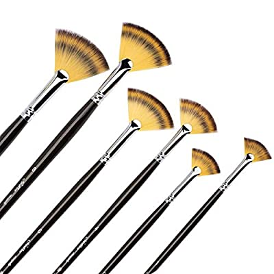 6Pcs Fan Brushes Multi-Color Soft Anti-Shedding Nylon Hair, Birch Wooden Long Handle Artist Paint Brush Set for Acrylic Watercolor Oil Painting-6 Sizes