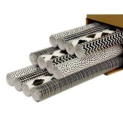 Clairefontaine 211416AMZC Karton mit 12 Rollen Geschenkpapier Alliance (2m x 0,70m, 60g/qm, 1 Karton, schwarz/weiß, sortierte Designs)