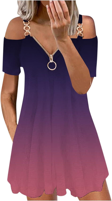 YALFJV Women Summer Dresses Sexy Cold Shoulder V-Neck Zipper Dress Casual Short Sleeve Spaghetti Cami Backless Swing Sundress