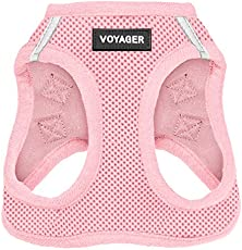 "Best Pet Supplies Voyager Step-in Air Dog Harness - All Weather Mesh, Step in Vest Harness for Small and Medium Dogs Pink (Matching Trim), S (Chest: 14.5-17"") (207T-PKW-S)"