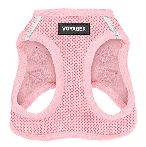 Best Pet Supplies Voyager Step-in Air Dog Harness - All Weather Mesh, Step in Vest Harness for Small and Medium Dogs Pink (Matching Trim), S (Chest: 14.5-17