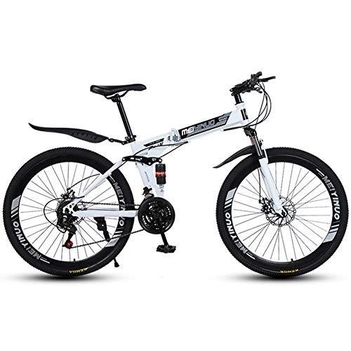 RR-YRL 26 Pulgadas de Bicicletas Plegable, Bicicleta de montaña, Amortiguador de Bicicletas, Unisex Ciudad Bicicleta de Carretera,White 27 Shift
