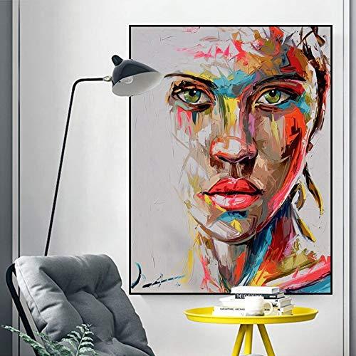 Kunst Mädchen Frau Poster Poster Messer Leinwand Malerei Wandkunst Bild Wohnzimmer Schlafzimmer Moderne rahmenlose Malerei 73cmX98cm