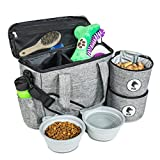 Top Dog Travel Bag - Airline Approved Travel Set for Dogs Stores All Your Dog Accessories - Includes Travel Bag, 2X Food Storage Containers and 2X Collapsible Dog Bowls - Gray