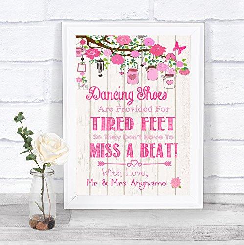 Roze Rustiek Hout Effect Flip Flops Sandalen Moe Voeten Gepersonaliseerde Bruiloft Teken Print Small A5 roze