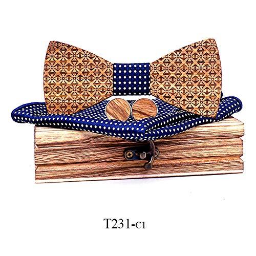 DYDONGWL Nekbanden, Houten Bowtie Zakdoek Manchetknopen Sets cadeau voor heren pak Houten Bow Tie Bowknots Bruiloft Partij Ties strikje