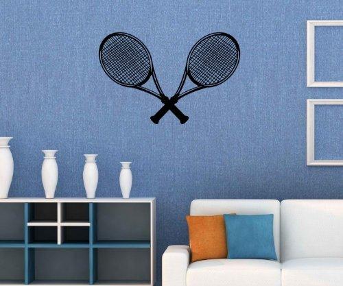 Wandtattoo Tennis Tennisschläger Sportart Sticker Tattoo Aufkleber Wand 5G051, Farbe:Braun Matt;Breite vom Motiv:75cm