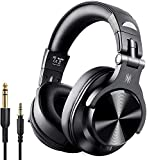 OneOdio A70 Bluetooth Headphones Over Ear, 50 Hrs Playtime, Stereo Wireless&Wired Headset with CVC6.0 Mic, Professional Studio Monitor Mixing Headphones for TV/PC/Phone