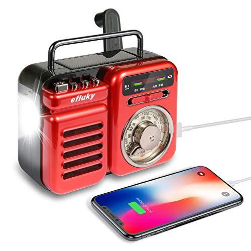 efluky Retro Radio Tragbare Kurbelradio FM/AM/WB Weltempfänger Radio mit Bluetooth Lautsprecher, Notstrombank, Led Taschenlampe, SOS Alarm, Wecker, Handkurbel Dynamo für Camping, Reisen, Notfall (Rot)