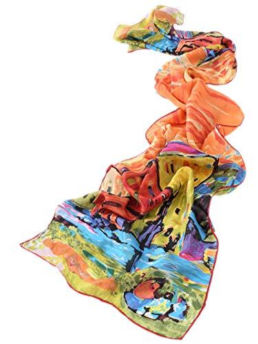 Prettystern prettystern Damen 160cm Seiden-malerei Kunstdrucke langer Schal - Wassily Kandinsky - Case A Monaco P039